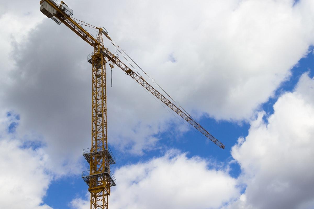 Crane in the clouds